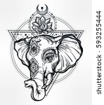 decorative vector elephant with ... | Shutterstock .eps vector #593255444