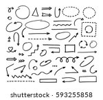 hand drawn vector arrows set on ... | Shutterstock .eps vector #593255858