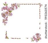 frame of flowers on a white... | Shutterstock . vector #593263574