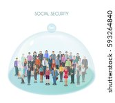 large group of people standing... | Shutterstock .eps vector #593264840