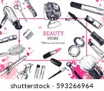 cosmetics and beauty background ... | Shutterstock .eps vector #593266964