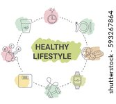 healthy lifestyle concept.... | Shutterstock .eps vector #593267864