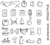set of hand drawn healthy... | Shutterstock .eps vector #593267918