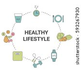 healthy lifestyle concept.... | Shutterstock .eps vector #593267930