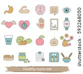 healthy lifestyle icons set.... | Shutterstock .eps vector #593268050