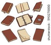 vector set of cartoon brown... | Shutterstock .eps vector #593270000
