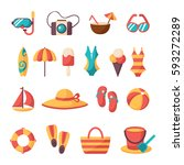 Summer vacation accessories flat icons set. Colorful abstract vector illustration. Colorful template for you design, web and mobile applications. - stock vector
