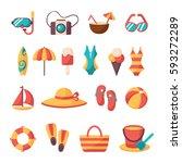 summer vacation accessories... | Shutterstock .eps vector #593272289