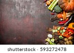 organic food. a variety of... | Shutterstock . vector #593272478