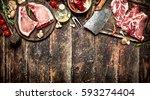 raw meat background. raw pork... | Shutterstock . vector #593274404
