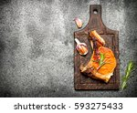 meat grill. fried piece of meat ... | Shutterstock . vector #593275433