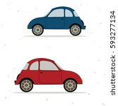 two cartoon cars | Shutterstock .eps vector #593277134