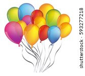 colorful bunch birthday... | Shutterstock .eps vector #593277218