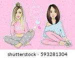 set with cute girls. vector... | Shutterstock .eps vector #593281304