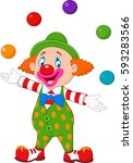 happy clown juggling with... | Shutterstock .eps vector #593283566