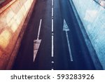 aerial view of empty two lane... | Shutterstock . vector #593283926