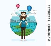 travel landmark and character...   Shutterstock .eps vector #593286188