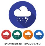 round icon of thunderstorm.... | Shutterstock .eps vector #593294750