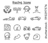racing icon set in thin line... | Shutterstock .eps vector #593297576