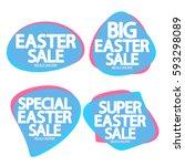 set speech bubble banners ... | Shutterstock .eps vector #593298089