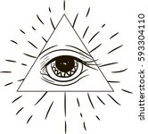 eye of providence. masonic... | Shutterstock .eps vector #593304110