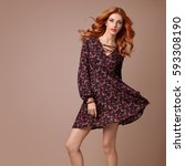 fall fashion. young woman in... | Shutterstock . vector #593308190