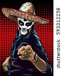day of the dead sugar skull man ... | Shutterstock .eps vector #593312258