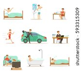 modern man daily routine from... | Shutterstock .eps vector #593315309