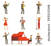 adult musicians and singers... | Shutterstock .eps vector #593315348