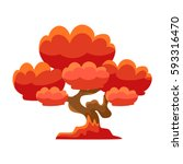red tree bonsai miniature...