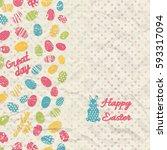 creased paper polka dot happy... | Shutterstock .eps vector #593317094