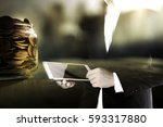 double exposure of business man ... | Shutterstock . vector #593317880