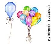 Watercolor Air Balloons Set....