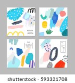 set of artistic creative... | Shutterstock .eps vector #593321708