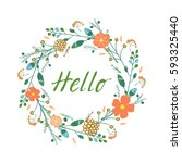 vector hand drawn cardwith... | Shutterstock .eps vector #593325440