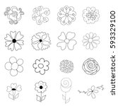 flower icons set. retro floral... | Shutterstock .eps vector #593329100