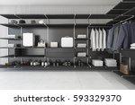 3d rendering modern loft black... | Shutterstock . vector #593329370