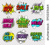 stickers sales  discounts ... | Shutterstock .eps vector #593335664