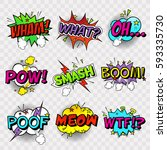 comic sound effects in pop art... | Shutterstock .eps vector #593335730