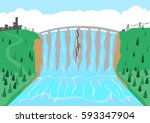 a dam or flood control barrier... | Shutterstock .eps vector #593347904