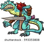 lizard warrior. vector clip art ... | Shutterstock .eps vector #593353808