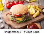 burger  hamburger with french... | Shutterstock . vector #593354306