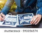 business statistics success... | Shutterstock . vector #593356574