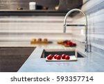 white kitchen counter tops... | Shutterstock . vector #593357714