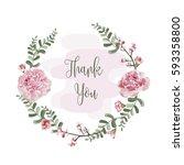 wreath of flowers in romantic... | Shutterstock .eps vector #593358800