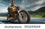 biker seat on the motorcycle...   Shutterstock . vector #593359049