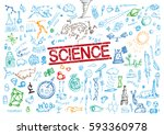 hand sketched science elements... | Shutterstock .eps vector #593360978