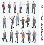 group of business man isometric ... | Shutterstock .eps vector #593362109