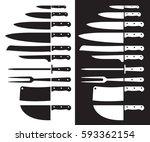 butcher knife silhouette sharp. ... | Shutterstock .eps vector #593362154