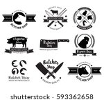 butcher shop logo and label.... | Shutterstock .eps vector #593362658